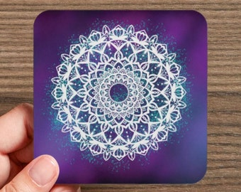 Galaxy Mandala Coasters, Set of 4 Coasters, Drink Coasters, Hostess Gift, Home Decor, Bright colors