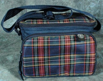 America Studio Blue Plaid Fabric Shoulder Case Bag Pouch w/ Strap Size: 8 wide x 6 deep x 6 tall