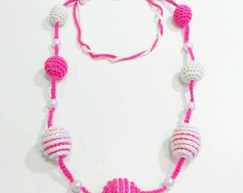 Long balls crochet collar and pink and white pearls