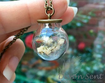 Devon dreams pendant, terrarium jewelry, real dandelion pendant, botanical jewelry, gift for her, flower jewelry, baby's breath necklace