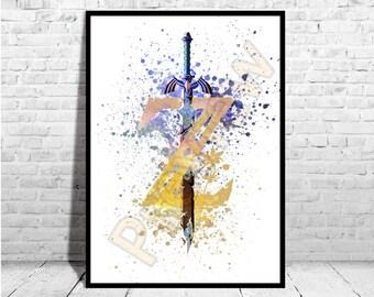 Zelda Breath of the Wild Poster, Game Art from The legend of Zelda, Zelda Poster,AG162