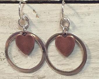 Sterling Silver Hoop and Copper Heart Earrings