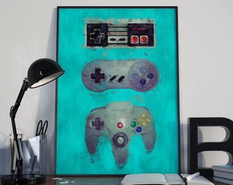 Nintendo Controllers NES 5x7 8x10 11x14 12x16 18 x 24