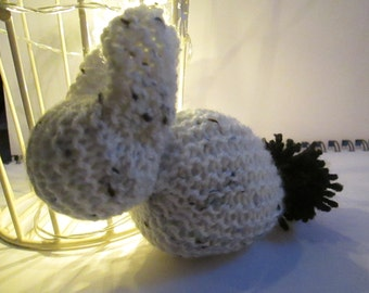 Hand-Made Knitted Bunny - Black and White