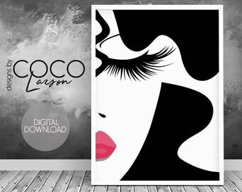 Makeup print, fashion print, makeup art, lashes print, digital print, make up print, vanity print, makeup prints, beauty art , makeup decor