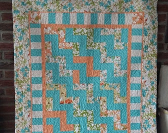 Teal and Peach Baby Quilt