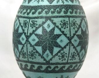 Etched emu egg; Stars and Spiders; Ukrainian Easter eggs; etched eggs; blue emu egg; pysanky eggs; decorative eggs; egg art; pysanka