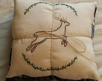 Embroidered Reversable Deer Pillow with Accent Pillow