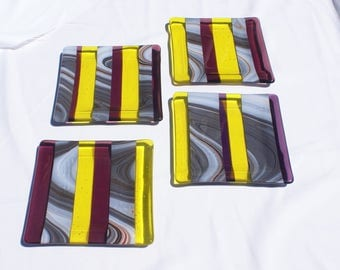 Fused Art Glass Plates - Set of 4
