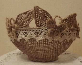 Burlap Flower Girl Basket, Wedding Baskets, Burlap Weddding Baskets, Lace Flower Girl Basket, Rustic Wedding Decor,цветочная корзинка,