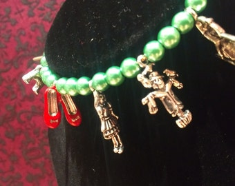 Inspired Wizard Of OZ Bracelet With Silver Charms And Emerald Beads