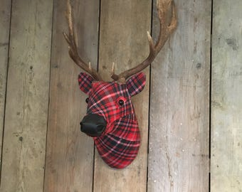 Fabric Fallow faux taxidermy fabric deer stag buck head trophy with REAL antlers McDougal tartan no:27