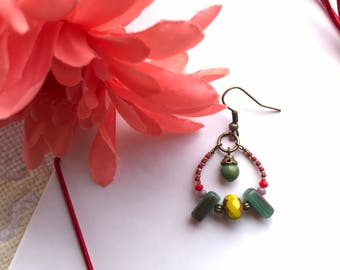 Earring in Green and Yellow