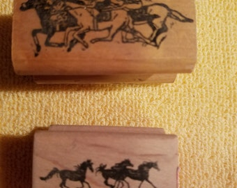 Pair of Running Horses Rubber Stamps Wood Mounted