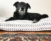 White Arrow African Mud Cloth Memory Foam Dog or Pet Bed -- Small - Large Dogs