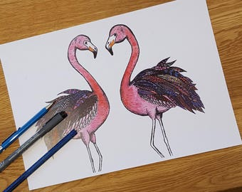 Flamingo doodle print | Flamingo picture | Flamingo print | Pink picture