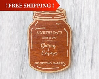Free Shipping! Mason Jar Magnet Save the Date Magnet Wedding Magnet Wood Save the Date Rustic Wedding Save the Date Wedding Announcement