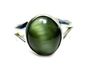 Cat's Eye Cut Ring,Silver Ring,Eye Stone Ring,Green Cat's Eye Ring,925 Silver Cat's Eye Ring,Gemstone Cut Ring,Tiger Ring,Cut Ring,Cats Ring