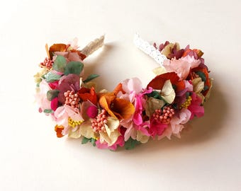 Diadema / tocado de flores preservadas CHARLOTTE - colorful preserved flower crown - headband