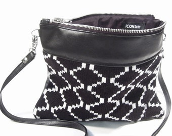 Purse clutch black knitted white lines