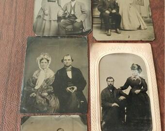 Civil Couples:  Lot of 5 Antique Tintype Photographs of Civil War Era Couples