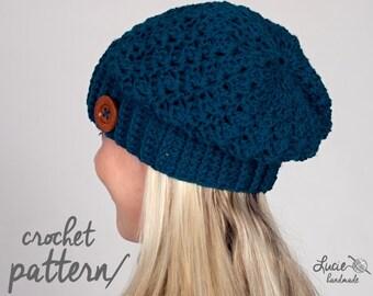 Crochet Hat PATTERN No.16 - Slouchy Women Winter Hat, Autumn Hat, Spring Hat Crochet Pattern
