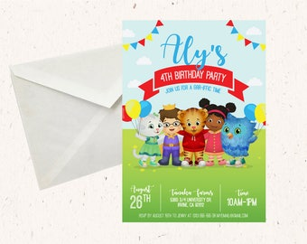 Daniel Tiger's Neighborhood Birthday Party Invitation - Red, Blue, and Yellow, 5x7 size