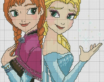 Elsa and Anna-cross-stitch files for embroidering machines