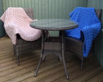 Snuggle Handmade Crochet Blanket, beige blanket, blue blanket, neutral blanket, handmade crochet throw, textured blanket, chunky blanket