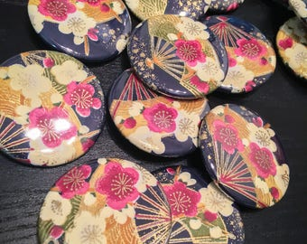 Japanese Washi Paper Button/Pin 1.5""