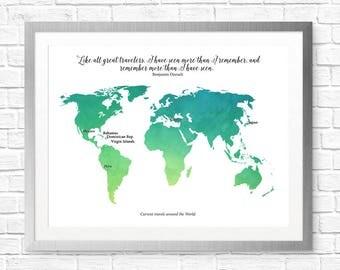 Custom World Travels Map Print