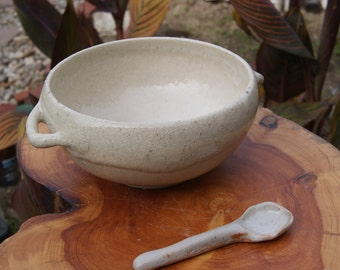 Ceramic Serving Dish With Spoon- Shino