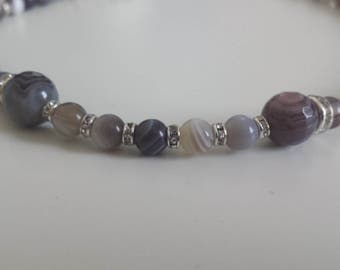 Botswana agate and swarovski Pearl Necklace