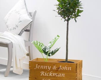 Planter, Wooden Planter, Personalized Wooden Planter, Personalised Wooden Crate,