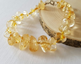 Citrine Nugget Bracelet with 925 Sterling Silver Clasp, November Birthstone