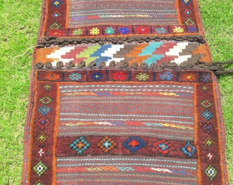Article # 5336 Tribal Maldari Brown Saddle Bag Hand Made Kilim,Horse,Cushions/pillows,Multi uses Size 4.2 x 2.2 Feet  128 cm x 68 cm
