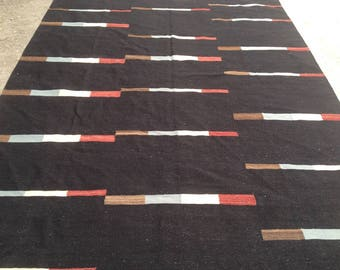 ARTICLE # 6017 Special High Quality BLACK Stripped Hand Made Wool Kilim Rug 289 x 200 CM ( 9.5 x 6.6 Feet)