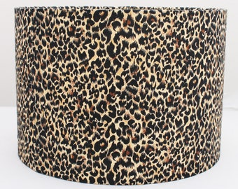 ANIMAL PRINT Leopard / Custom made LAMPSHADE Brown/ Black Spots/ Cylinder / Drum Lampshades / Pendant Shade / Table lamp/20cm/30cm/Nature