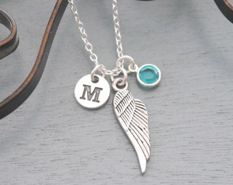 Remembrance Necklace, Personalized Angel Wing Necklace, Memorial Necklace, Initial Necklace, Memorial Gifts, Remembrance Gifts, Custom
