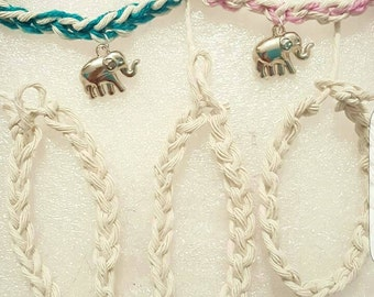 Crocheted rope bracelets with elephant charm