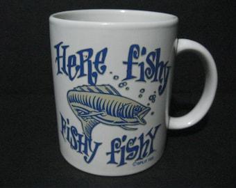 Fishing Coffee Mug, Here Fishy Fishy Fishy Coffee Mug,  Split Tee Coffee Mug