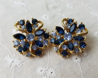 Vintage Gold Tone and Blue Jeweled Beddazzled Embellished Clip On Earrings Set