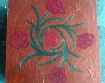 Roses - original acrylic painting on wood