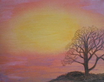 Avalon Sunset - an original painting in mixed media on canvas
