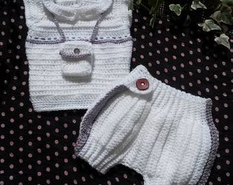 Bloomer and 3 months crochet baby sweater set