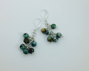 African Turquoise and Silver Dangling Earrings