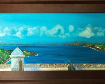 Original  Oil on Canvas Castillo del Moro In Cuba