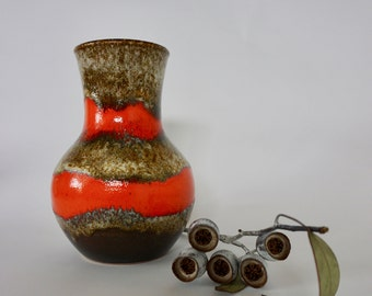 Vintage West German Fat Lava Vase in orange and brown