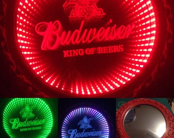 Round Budweiser Infinity Color Changing LED lit mirror