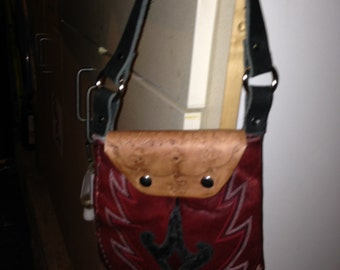 Leather handmade bag from old boots